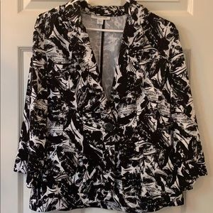 Coldewater Creek black and white one button jacket